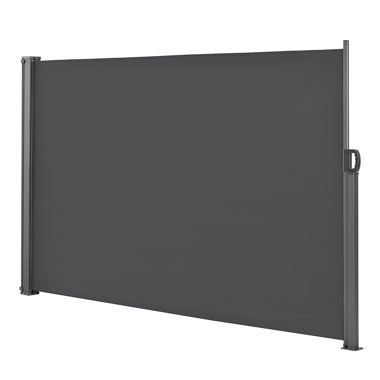 [pro.tec] Seitenmarkise 180 x 300 cm Grau Sichtschutz Markise Sonnen- & Windschutz