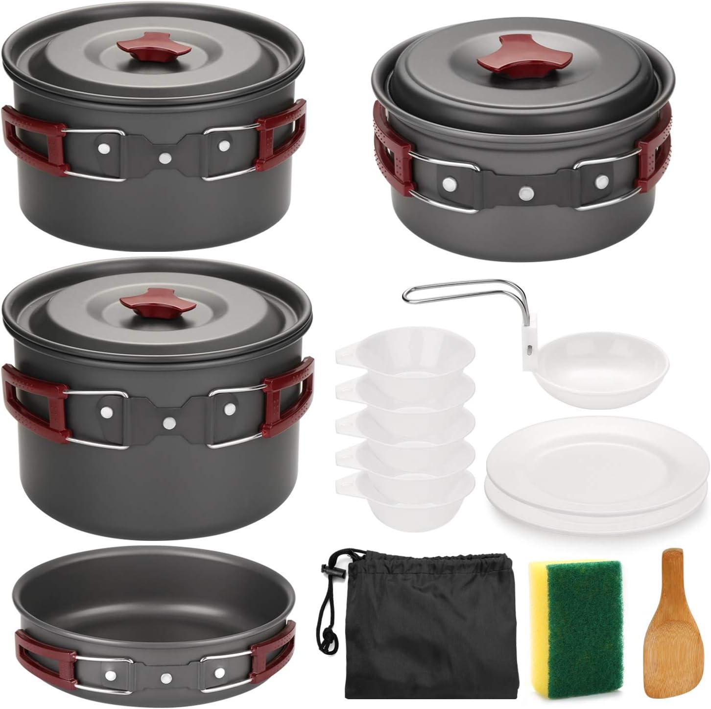 Odoland Utensilios Cocina Camping Kit 14-en-1, Portable Cooking Set con Ollas y Sartenes para Acampar, Platos, Tazones - Juego de Vajilla para Barbacoas, Camping, Escalada