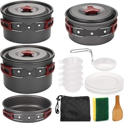 6PCS Camping Cookware Set Campfire Pan Utensils Camp Cooking Backpack Mess Kit