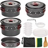 Odoland Utensilios Cocina Camping Kit 14-en-1, Portable Cooking Set con Ollas y Sartenes para Acampar, Platos, Tazones…