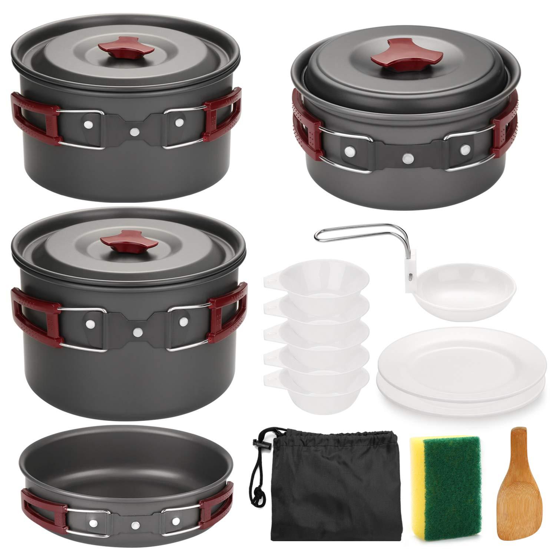Odoland Acampar Kit de Utensilios de Cocina de 3 a 5 Personas - 14-en