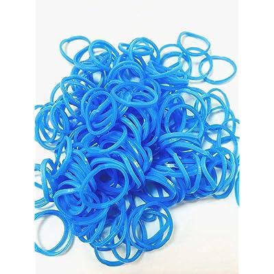 ETHAHE 600pcs Loom Bands Elastiques Bleu Clair Bracelet à Tricoter sans Latex avec 24 S-Attaches & 1 Crochet