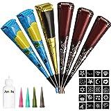 Janolia Temporary Tattoo Set, 6Pcs Cones with Three Colors, 20Pcs Adhesive Stencil, 1Pcs Bottle, 4Pcs Nozzles