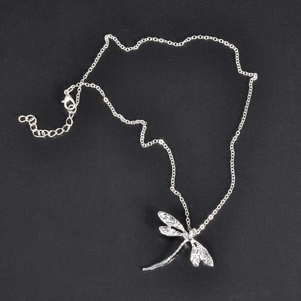 Women 925 Silver Wedding Dragonfly Animal Necklace Pendant with Chain Jewelry