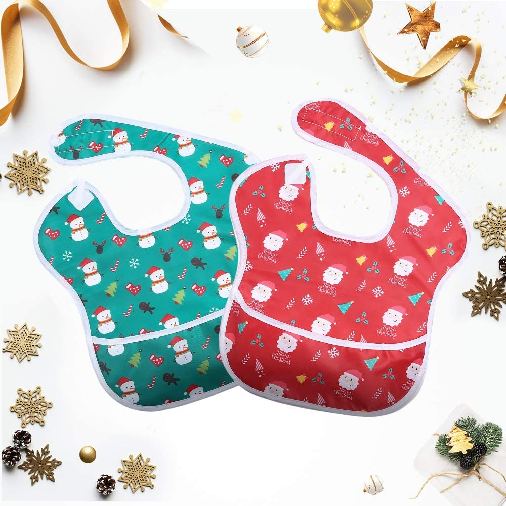 Baby Chrismas cotton Bib with velcro fastening by Soft Touch