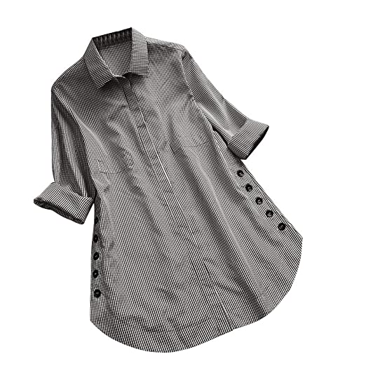 943b7ac235f Amazon.com: Handyulong Womens Shirts Long Sleeve Girls Plus Size Button Down  Casual Plaid Curved Loose Tunic Shirts Blouse Tops Clearance: Clothing