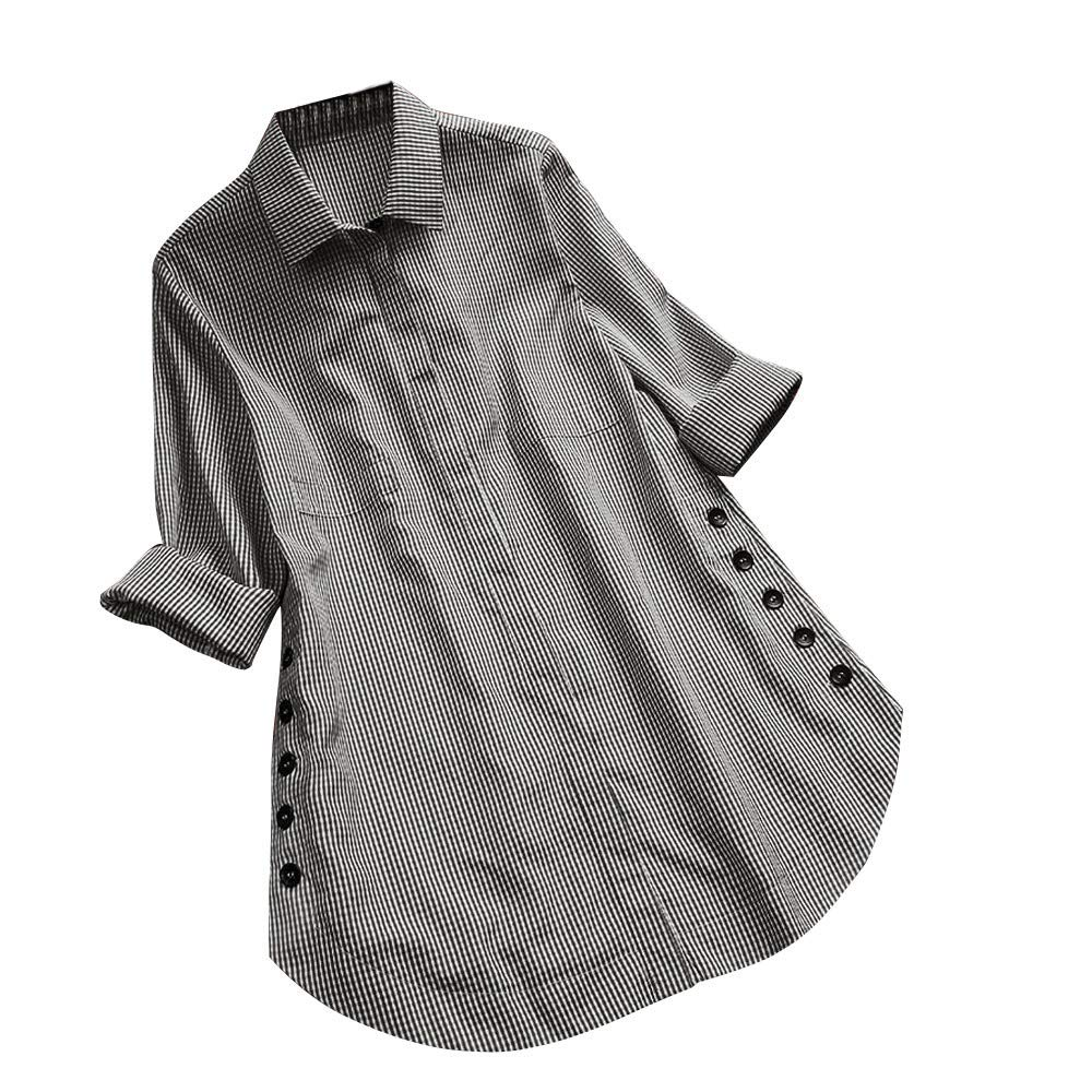 Women's Lattice Button Blouse, Casual Tops Shirt Loose Plus Size Long Sleeve Blouse