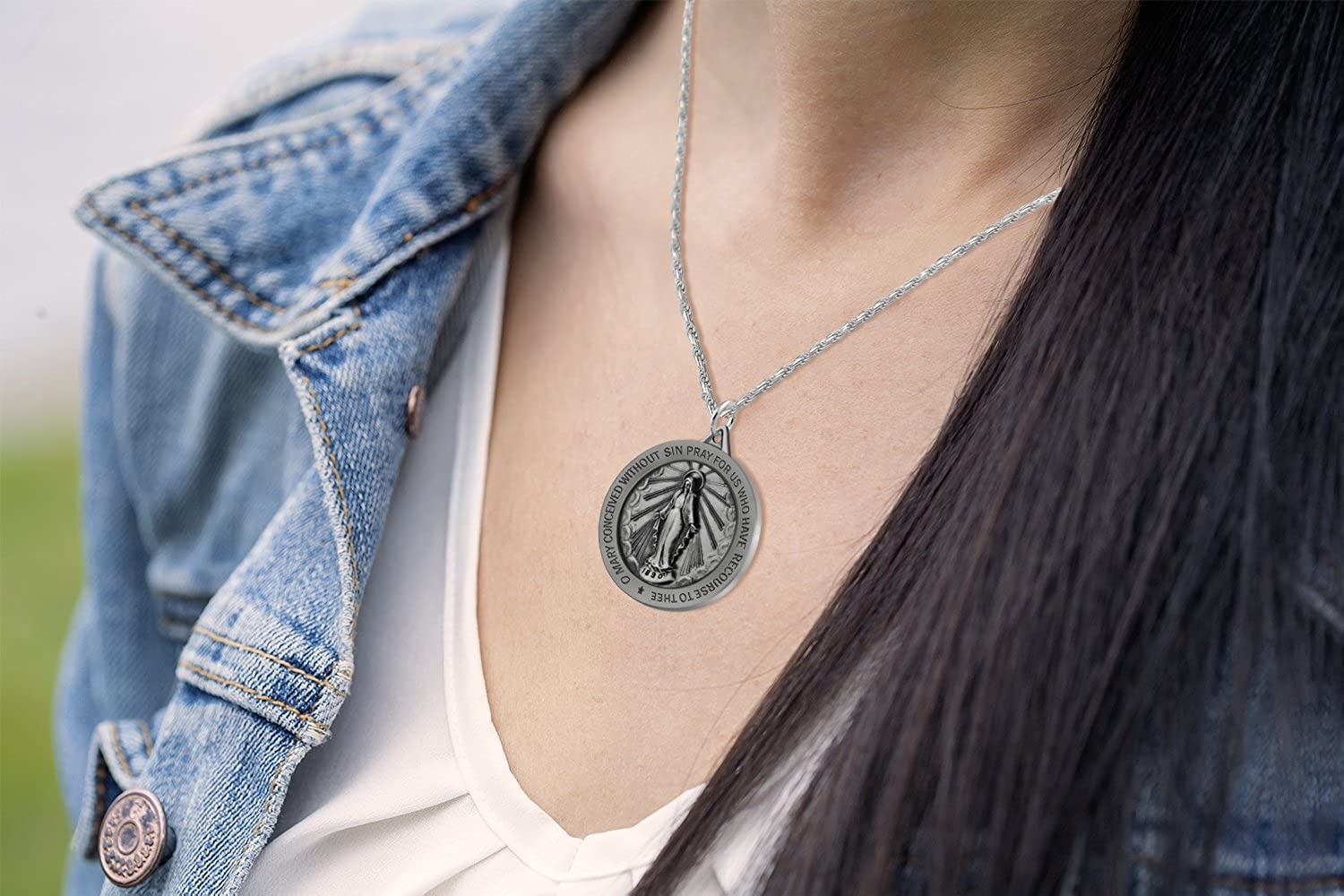 US Jewels And Gems New 0.925 Sterling Silver 1 Round Miraculous Virgin Mary Antique Finish Pendant Necklace 18 to 24
