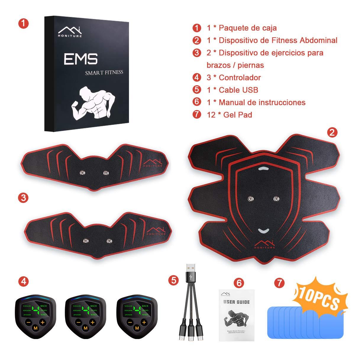 1 HONITURE Electroestimulador Muscular Abdominales Cinturon Electroestimulador Muscular