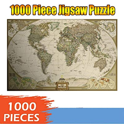 Allywit Jigsaw Puzzle 1000 Pieces for Adults, World Map Pattern Adult Children Puzzle Puzzle Intellective Entertainment DIY Toys Learning Games Cooperative Games for Creative Gift (Multicolor): Toys & Games