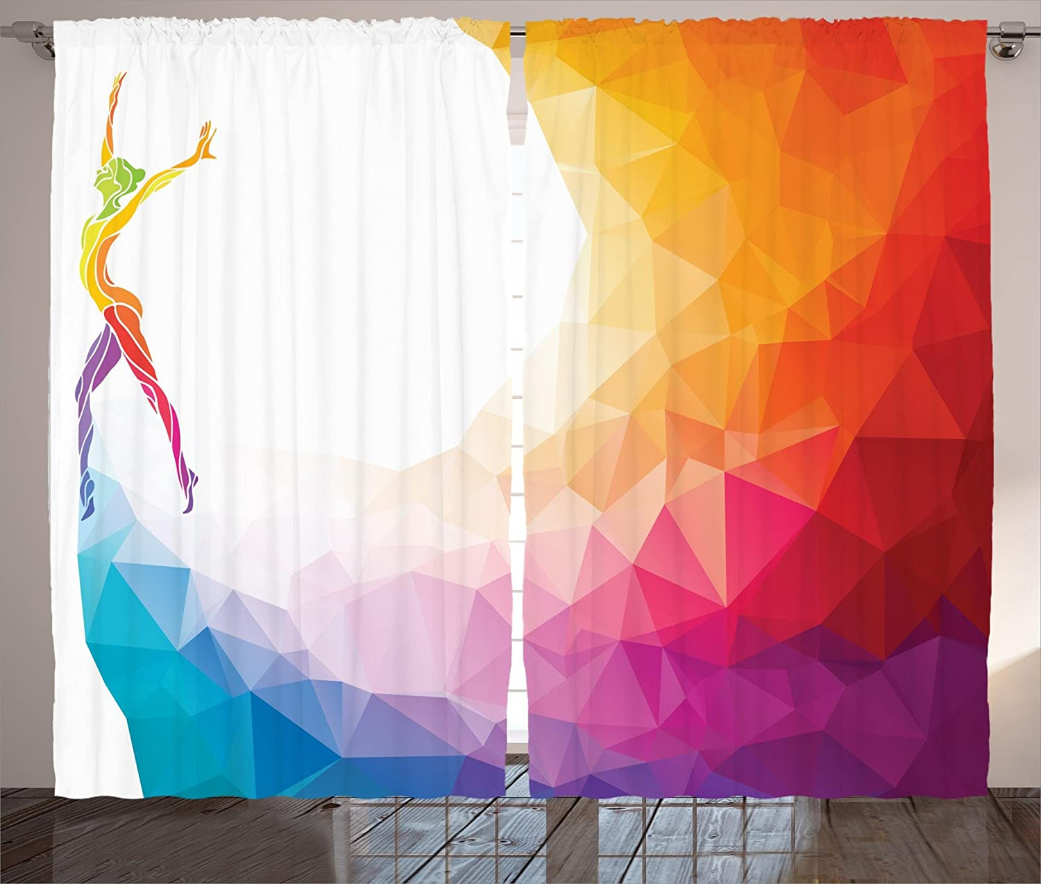 Ambesonne Sports Curtains Gymnastics Girl Gymnast Portrait Colored Geometric Digital Shapes Modern Olympics Living Room Bedroom Window Drapes 2 Panel Set 108 X 84 White Ruby Home Kitchen