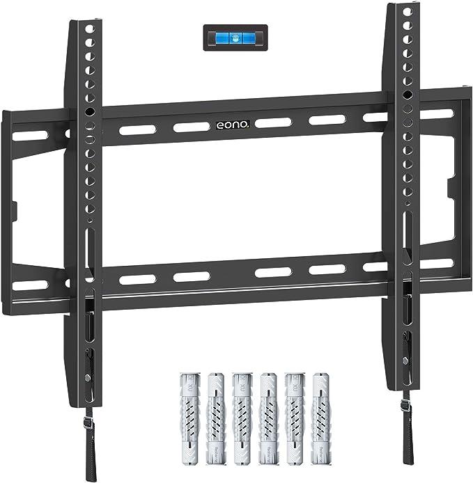 Amazon Brand - Eono Soporte TV Pared Fijo, Soporte de Televisión para la Mayoría de los 26-55 Pulgadas LED, LCD, OLED y Plasma Televisores hasta VESA 400x400mm y 45,5kg, con Tacos Fischer, PL2361-K