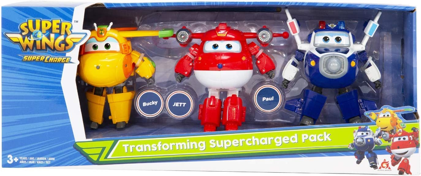Super Wings- Caja de 3 Transforming 12 cm - Sede 4 Jett Paul Supercharge/Bucky, EU740203: Amazon.es: Juguetes y juegos