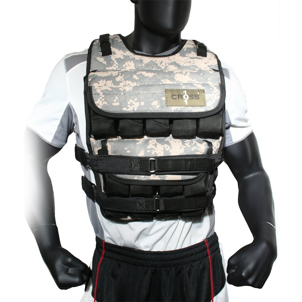 CROSS101 Camouflage Adjustable Weighted Vest – with Shoulder Pads