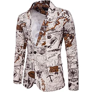 Goldatila Mens Suit Jackets Chinese Blue/&White Porcelain Print Long Sleeve Casual Suit Jacket Black Slim Fit Single Breasted Cotton Luxury Casual Blazer Jacket Size M-3XL