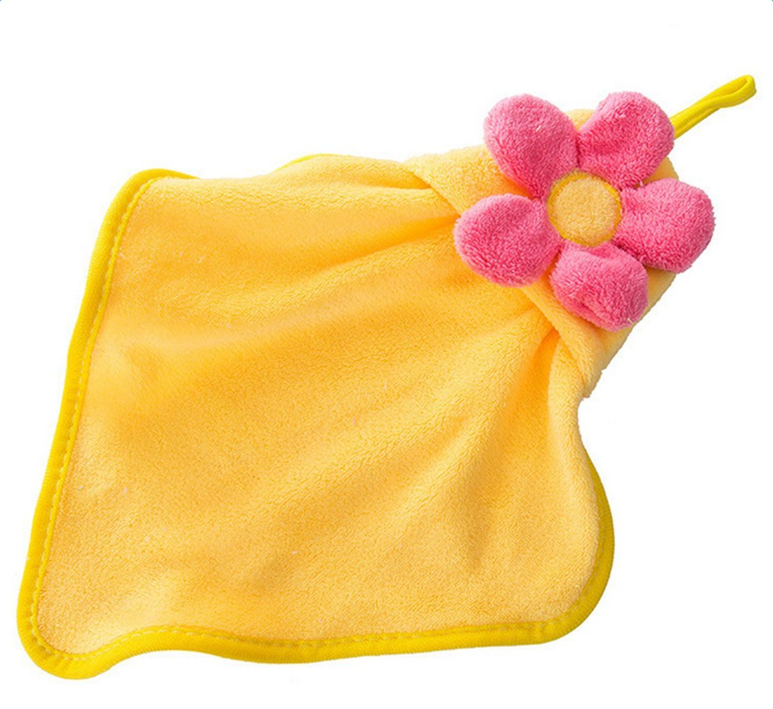 Freedi Bath Kitchen Towel Coral Fleece Wash Dish Handkerchief Soft Hypoallergenic Sensitive Skin Wipes Lovely Hanging Wipe Yellow