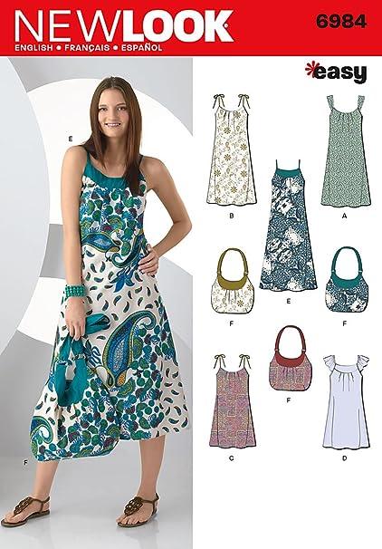 New Look Sewing Pattern 6984 patrones de costura para vestidos y bolsa, tamaño a (