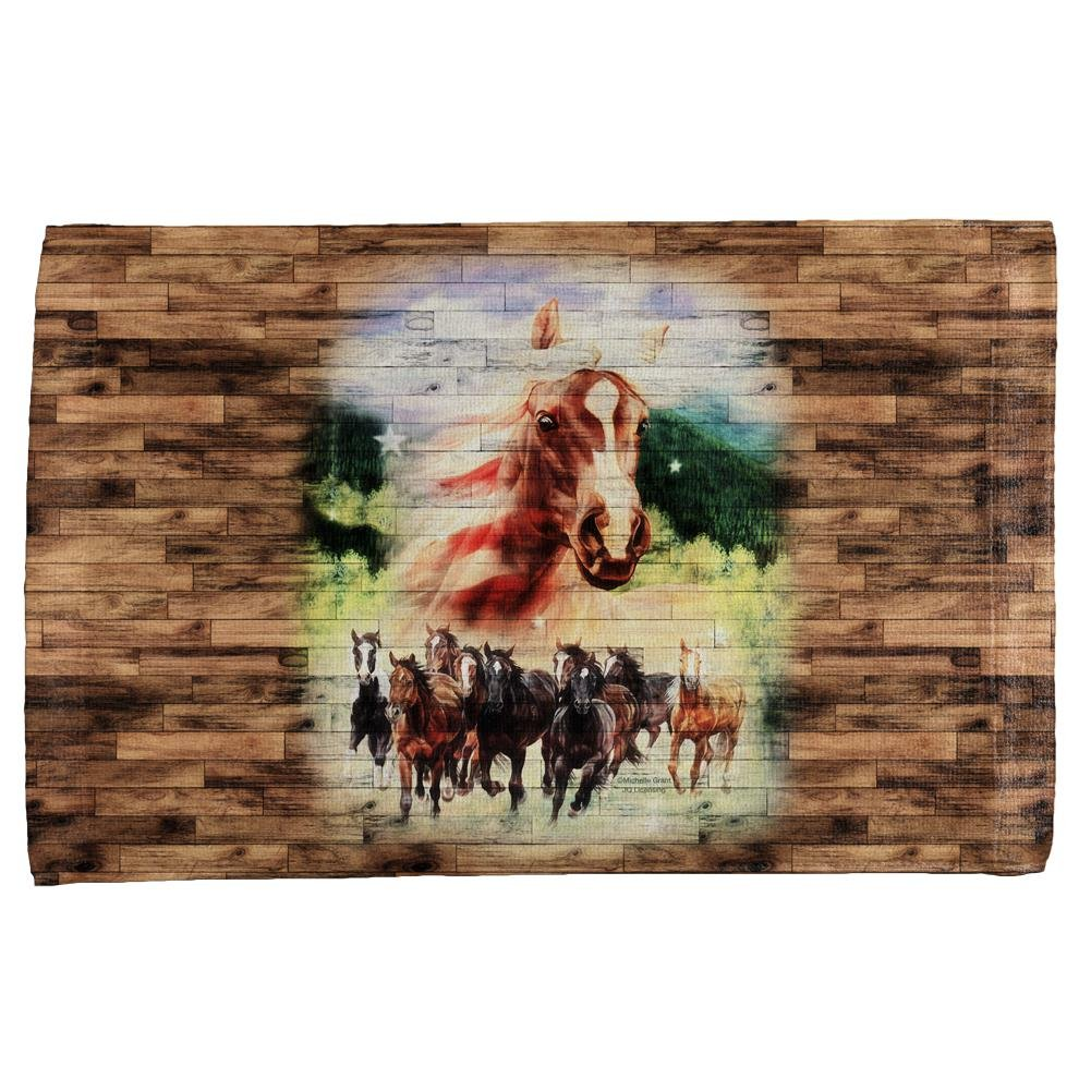 4th of July Wild Horse Mustang Patriot All Over Hand Towel Multi Standard One Size