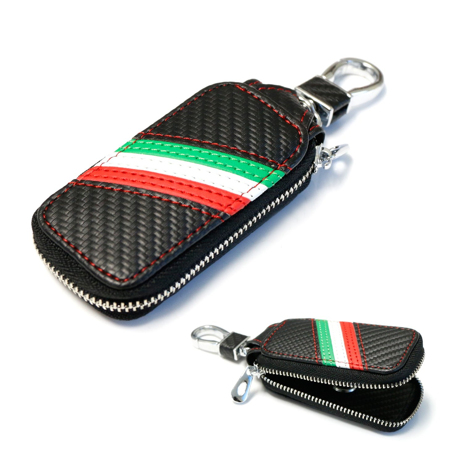 iJDMTOY (1 Italian Italia Flag Stripe Carbon Fiber Pattern Leather Key Holder Cover Wallet for Fiat Ferrari Maserati Lamborghini, etc