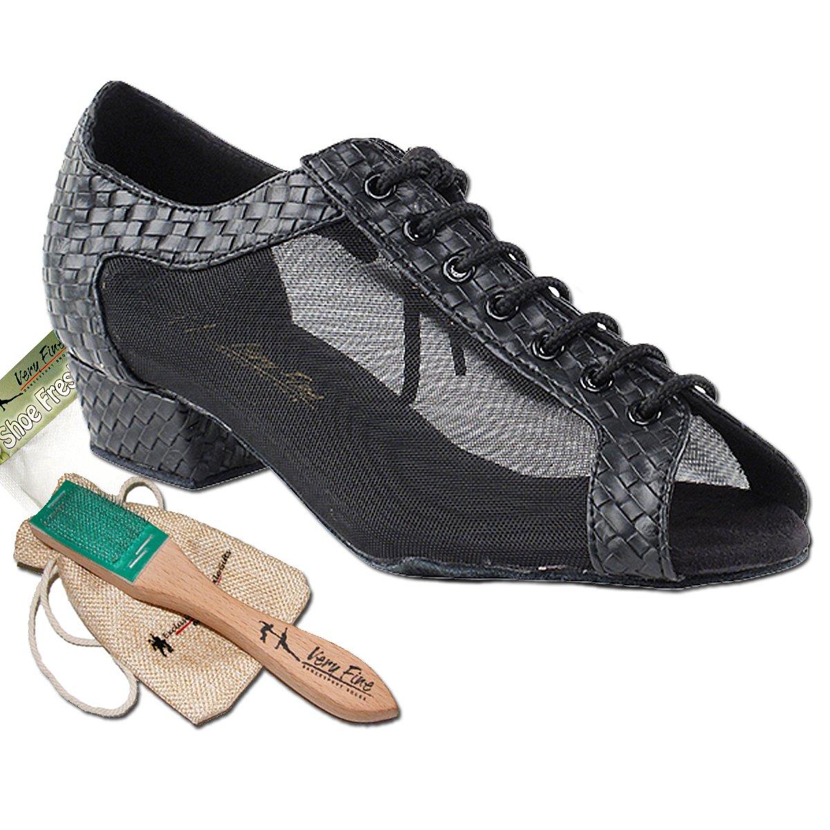 [Very Fine Dance Shoes] レディース B01M1FVJ8Q Black Weave Pu & Black Mesh 5.5 (B,M) US