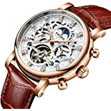 KKmoon KINYUED Luxury Diamond Automatic Mechanical Watch Water-Proof Self-Wind Skeleton Man Business Wristwatch Chrono Genuine Leather + Box
