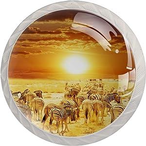Idealiy African Savanna Zebra Herd Sunset Landscape Door Drawer Pull Handle Furniture Decoration for Kitchen Cabinet Dressing Table