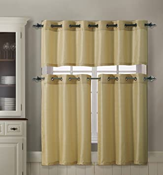 3 Piece Kitchen Curtain Set : 1 Valance, 2 Tiers, Solid Colors, Metal