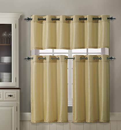 3 Piece Kitchen Curtain Set 1 Valance 2 Tiers Solid Colors Metal