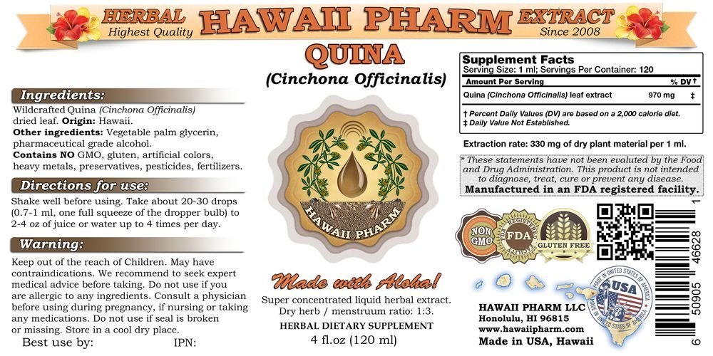 Quina Liquid Extract, Quina Cinchona officinalis Tincture, Herbal Supplement, Hawaii Pharm, Made in USA,t 4×4 fl.oz