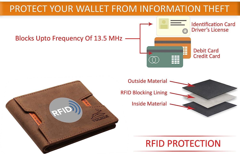 Fa.Volmer /® Portefeuille Fin et Confortable en Cuir v/éritable avec Protection RFID pour Homme