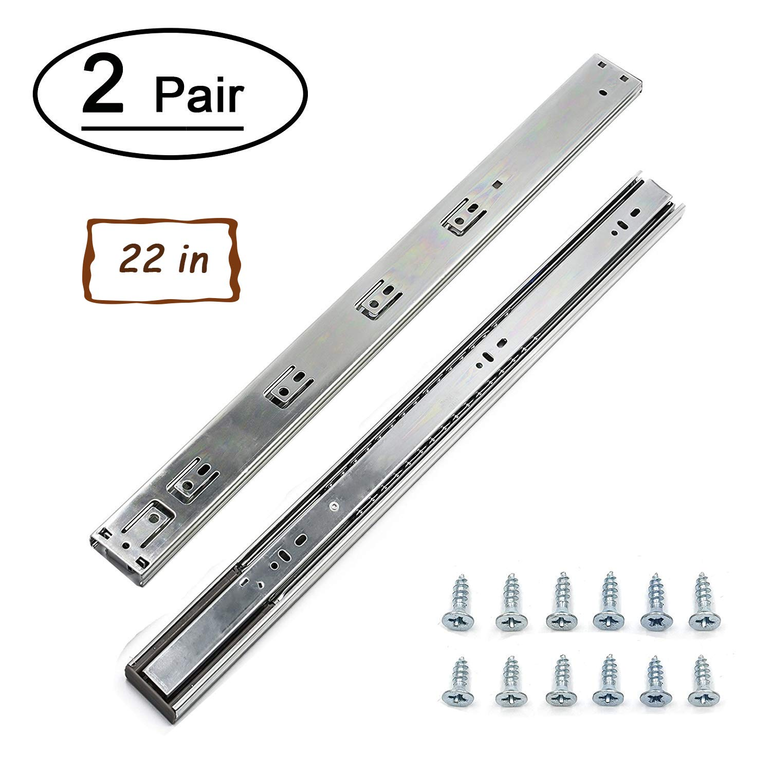 2 Pairs Soft Close Drawer Slides 22 inch Full Extension Ball Bearing Drawer Slides - LONTAN 4502S3-22 Side Mount Drawer Rails 100 LB Capacity Dresser Drawer Runners