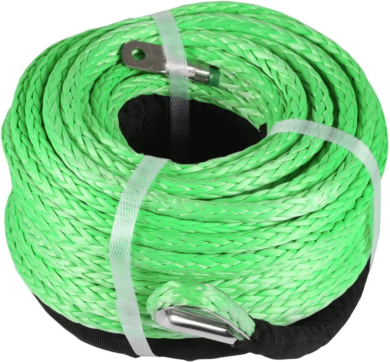 """5//16/"""" x 100ft 12000LBS Green Synthetic Winch Tow Rope Line Recovery Cable ATV"""