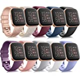 10 Pack Silicone Bands Compatible with Fitbit Versa 2 / Fitbit Versa/Versa Lite/Versa SE, Classic Soft Replacement Sport Wris
