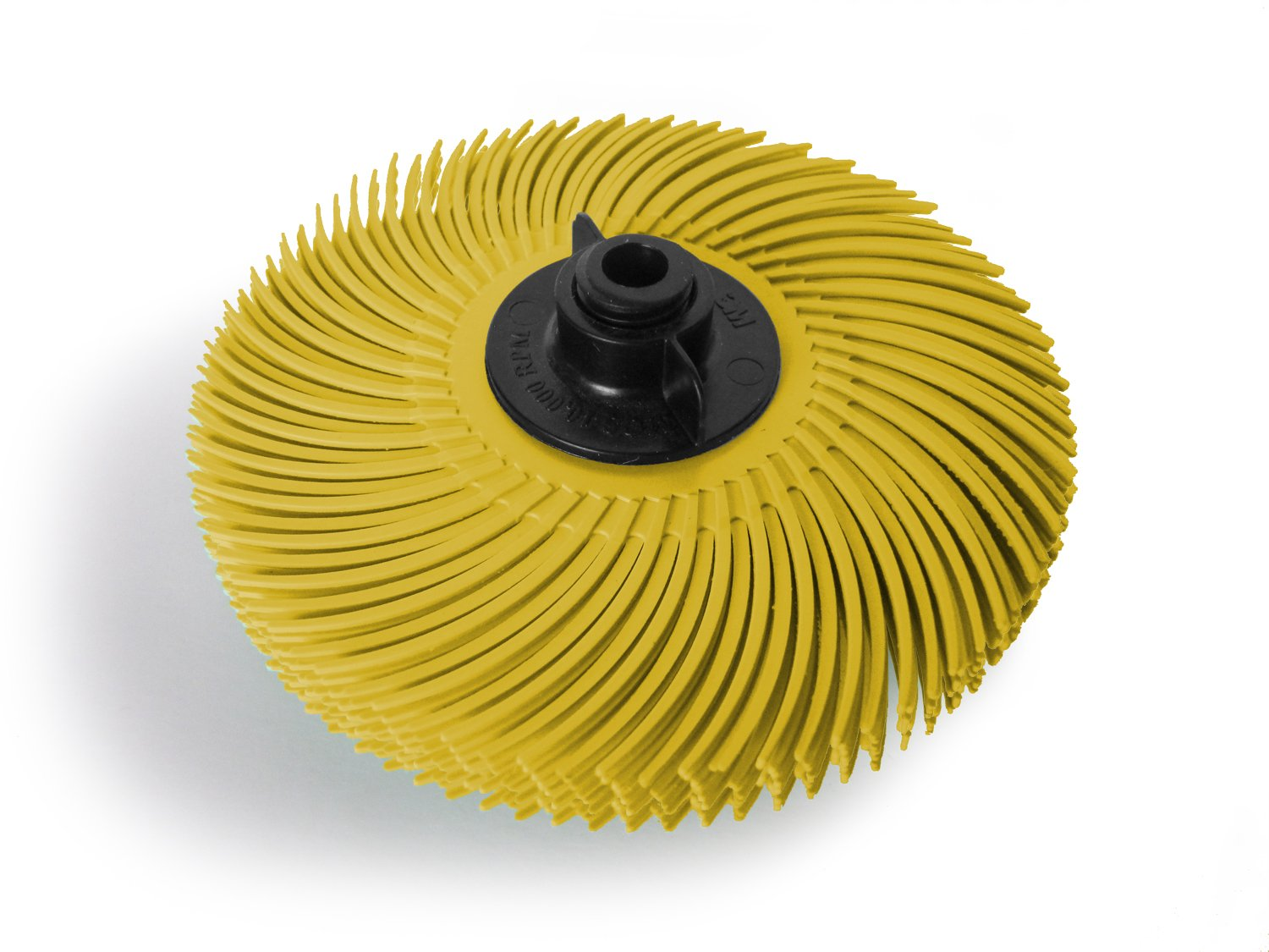 JoolTool 3M Scotch Brite Yellow Radial Bristle Brush Assembled with Plastic Tapered Mandrel Hub 6 Ply 3 Diameter Grit 80