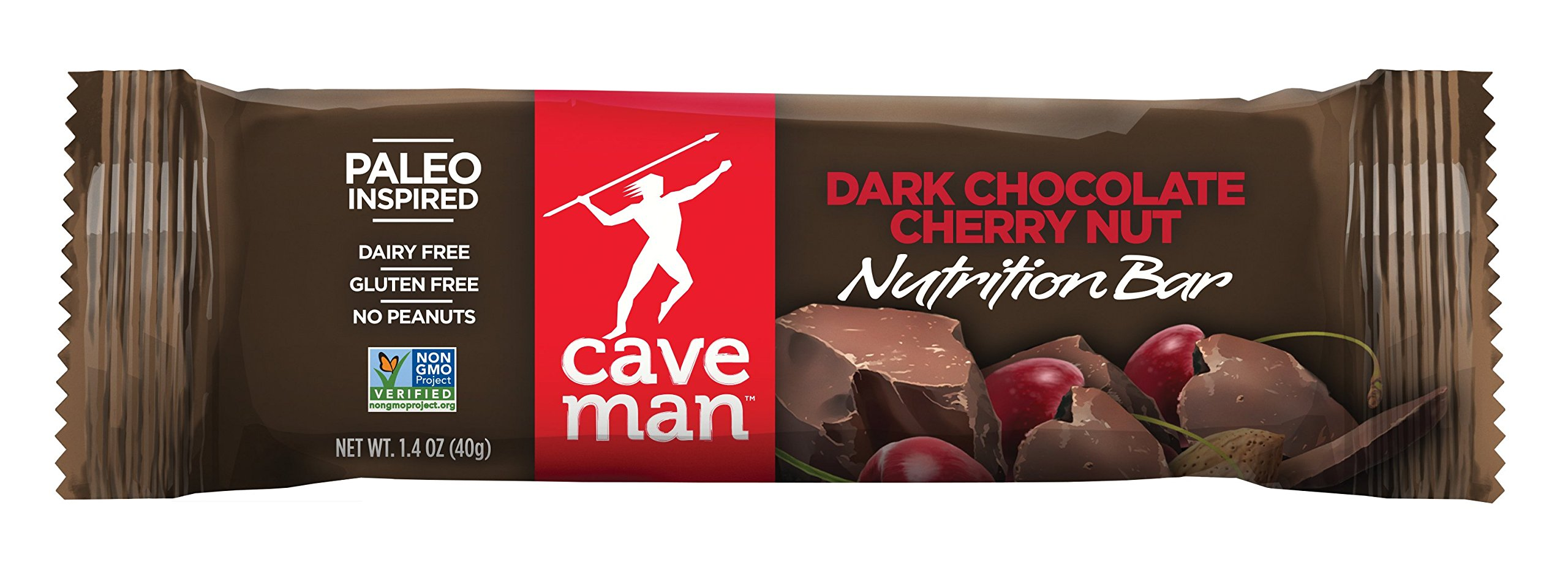 Caveman Foods Paleo-Friendly Nutrition Bar, Dark Chocolate Cherry Nut (Pack of 15)