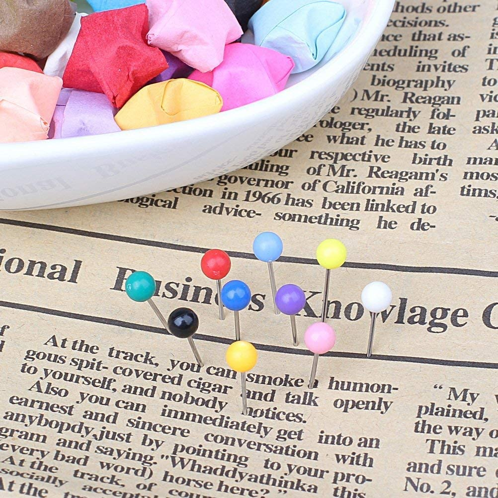 Each Color 55 PCS 12 Assorted Colors Fabric Marking in reconfigurable Container for Bulletin Board 660PCS Multi-Color Push Pins Map Tacks,1//8 inch Round Head with Stainless Point