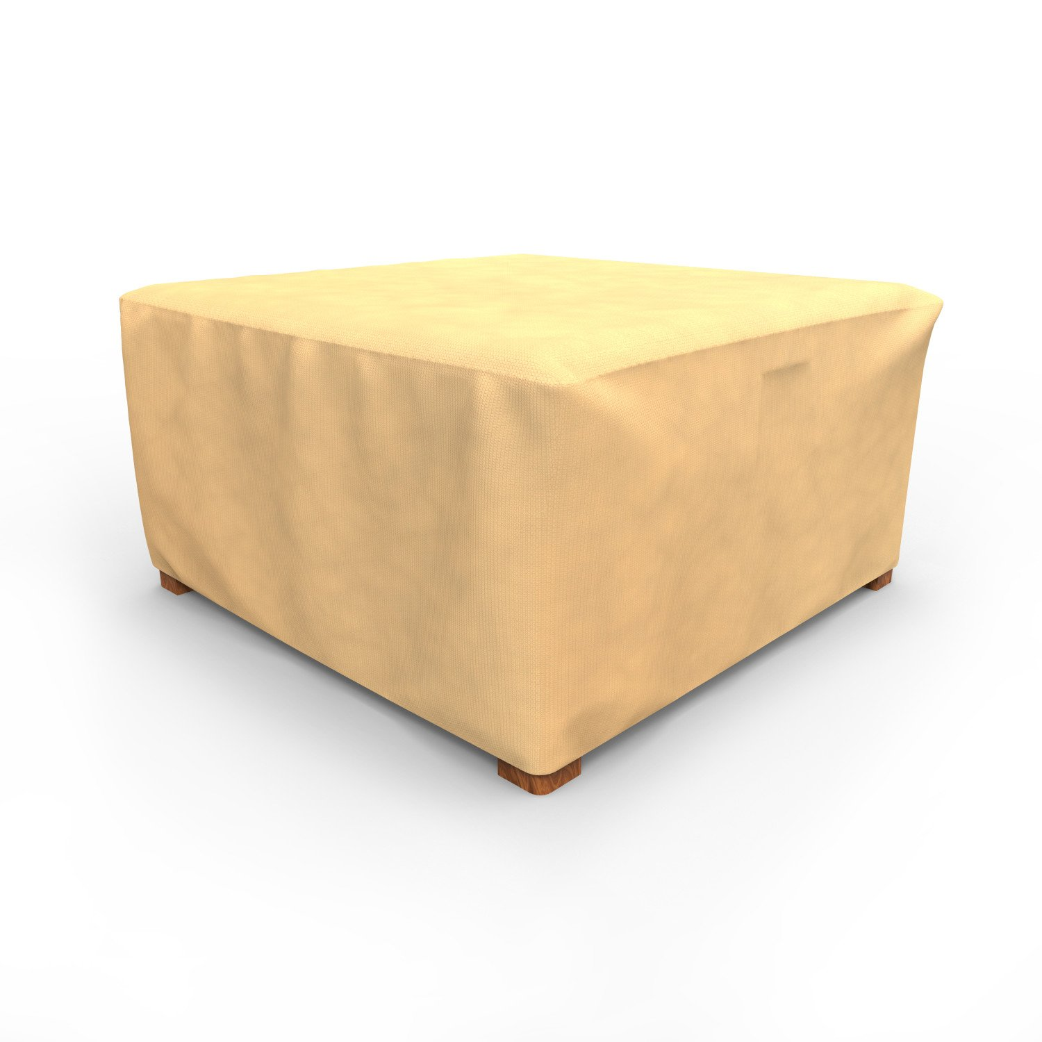 Budge P4A02SF1 All-Seasons Square Patio Table Cover / Ottoman Cover, Extra Large, Tan