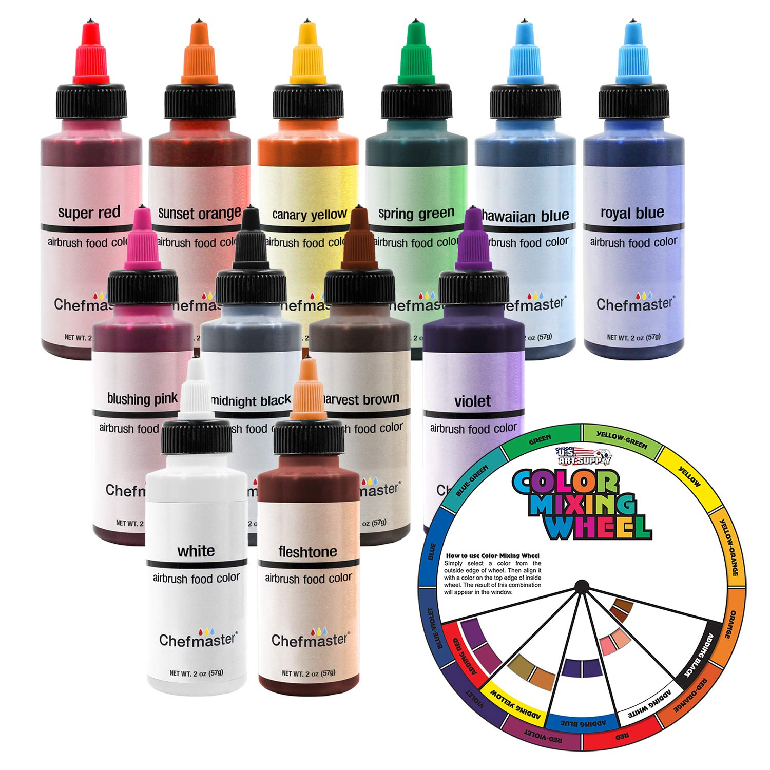 U.S. Cake Supply by Chefmaster Airbrush Cake Color Set - The 12 Most Popular Colors in 2.0 fl. oz. Bottles with Color Mixing Wheel