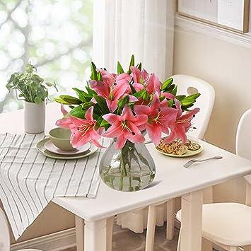 Justoyou - Ramo de flores artificiales de lirios, de tacto natural, de poliuretano,