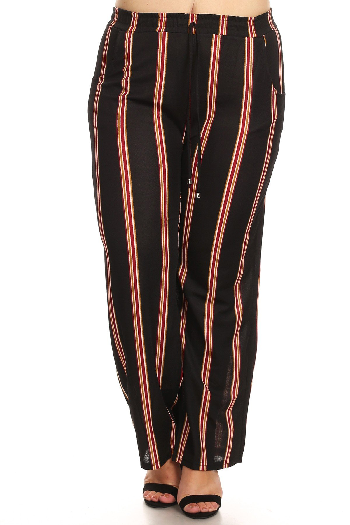 New Mix Women's Plus Size Black and White High Waist Wide Leg Pants (2X/3X)
