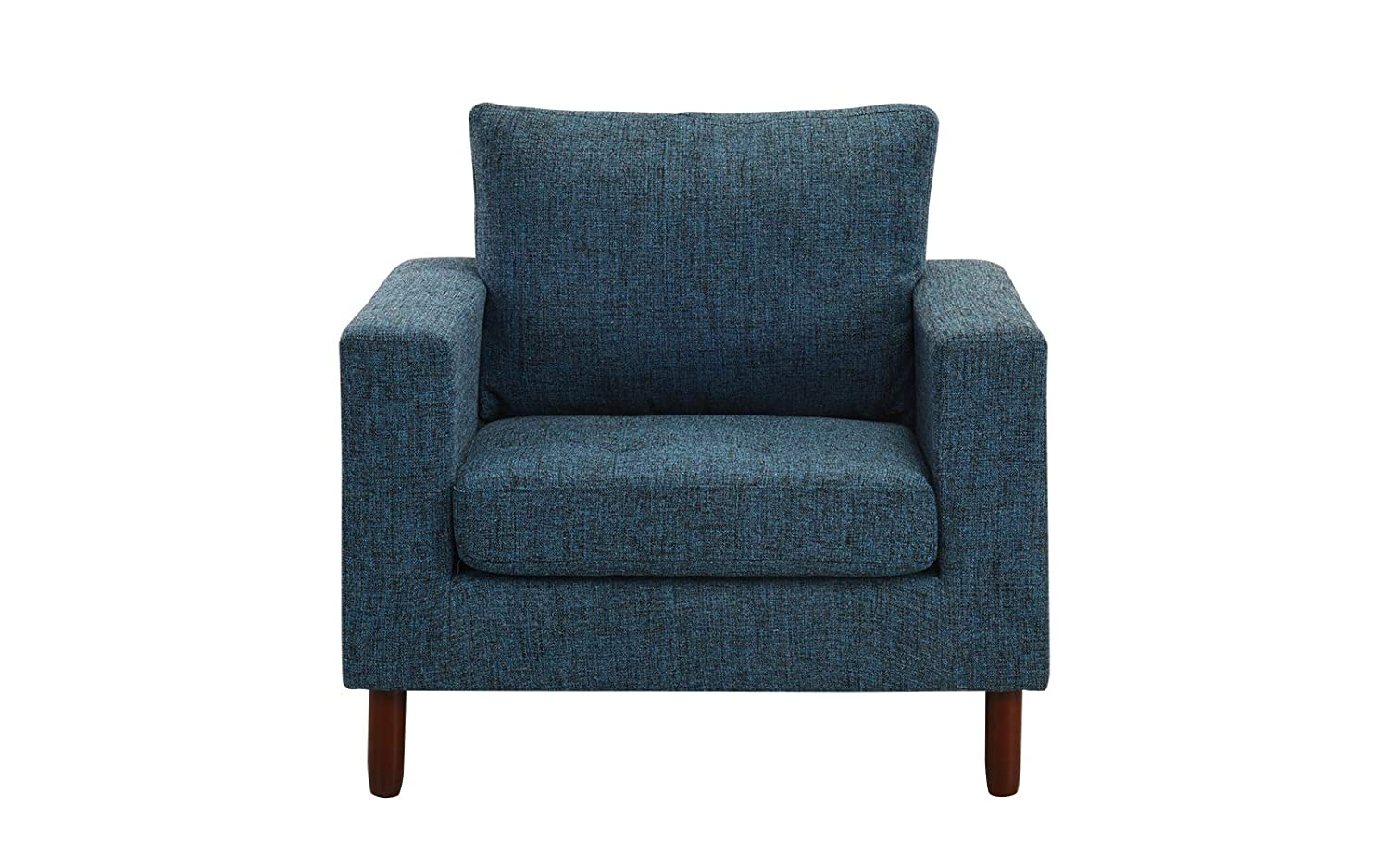 Modern Tufted Linen Fabric Armchair, Living Room Chair (Dark Blue)