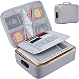Fireproof Document Bag with Lock File Storage Organizer Bag Waterproof Safe Pouch Bag for Home Office Travel