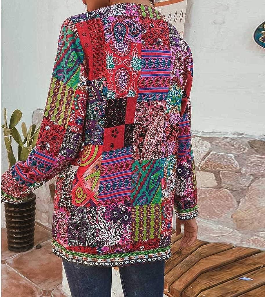 Giacca da donna in stile etnico vintage con stampa floreale a maniche lunghe taglie forti in cotone