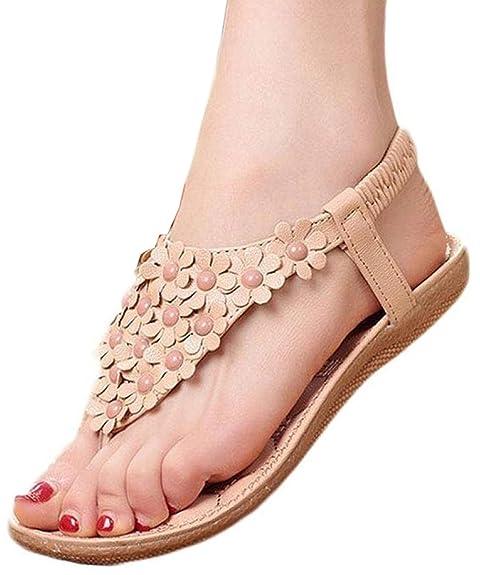 32ff49d6ed19 HOAOU Women Summer Bohemia Flower Beads Flip-Flop Shoes Flat Sweet Flower  Thong Sandals (