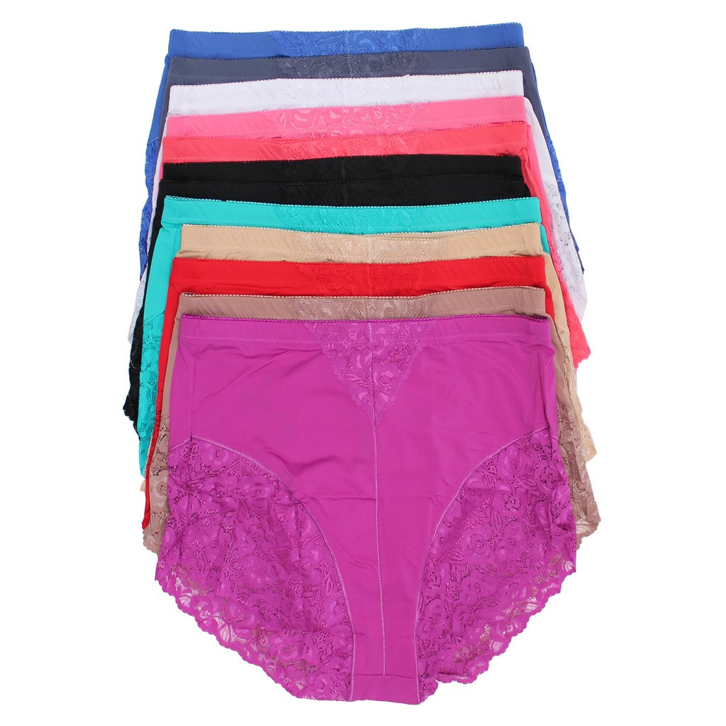 Jennifer Intimates 12 Pack Lace Front Girdle Panties, Sizes from Small up to 5XL