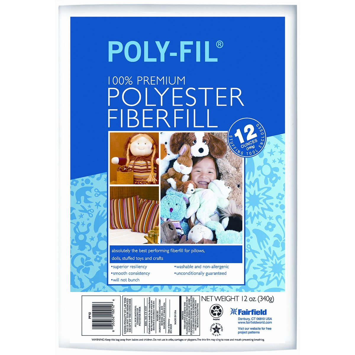 Poly-Fil Premium Fiber Fill For Pillow stuffing, Dolls, Stuffed Toys and Plush Plushie Crafts