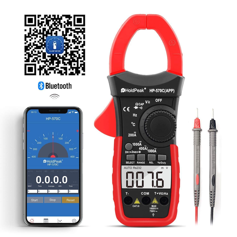 Mult/ímetro de 4000 Unidades con Rango Autom/ático,Voltaje,Corriente,Resistencia APP Capacitancia,Temperatura,Prueba de diodo para la industria o el hogar Medidor Digital de Pinzas HOLDPEAK HP-570C