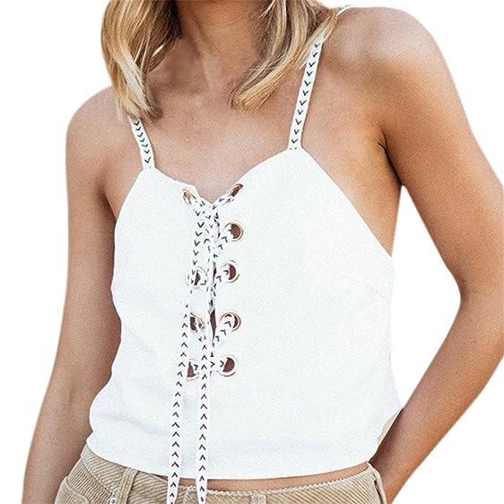 2bcc167f68d79 KuoShun Women Sleeveless Patchwork Tank Tops Backless Sexy Bandage V Neck  Strappy
