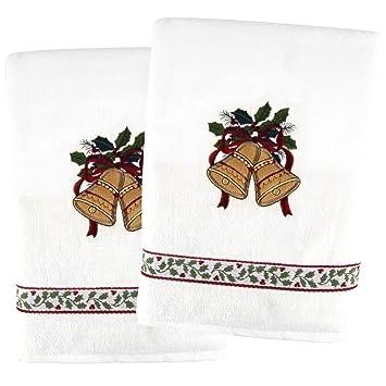 Ritz marfil campanas de Navidad y Holly 2 piezas Juego de toallas de baño 100% algodón: Amazon.es: Hogar