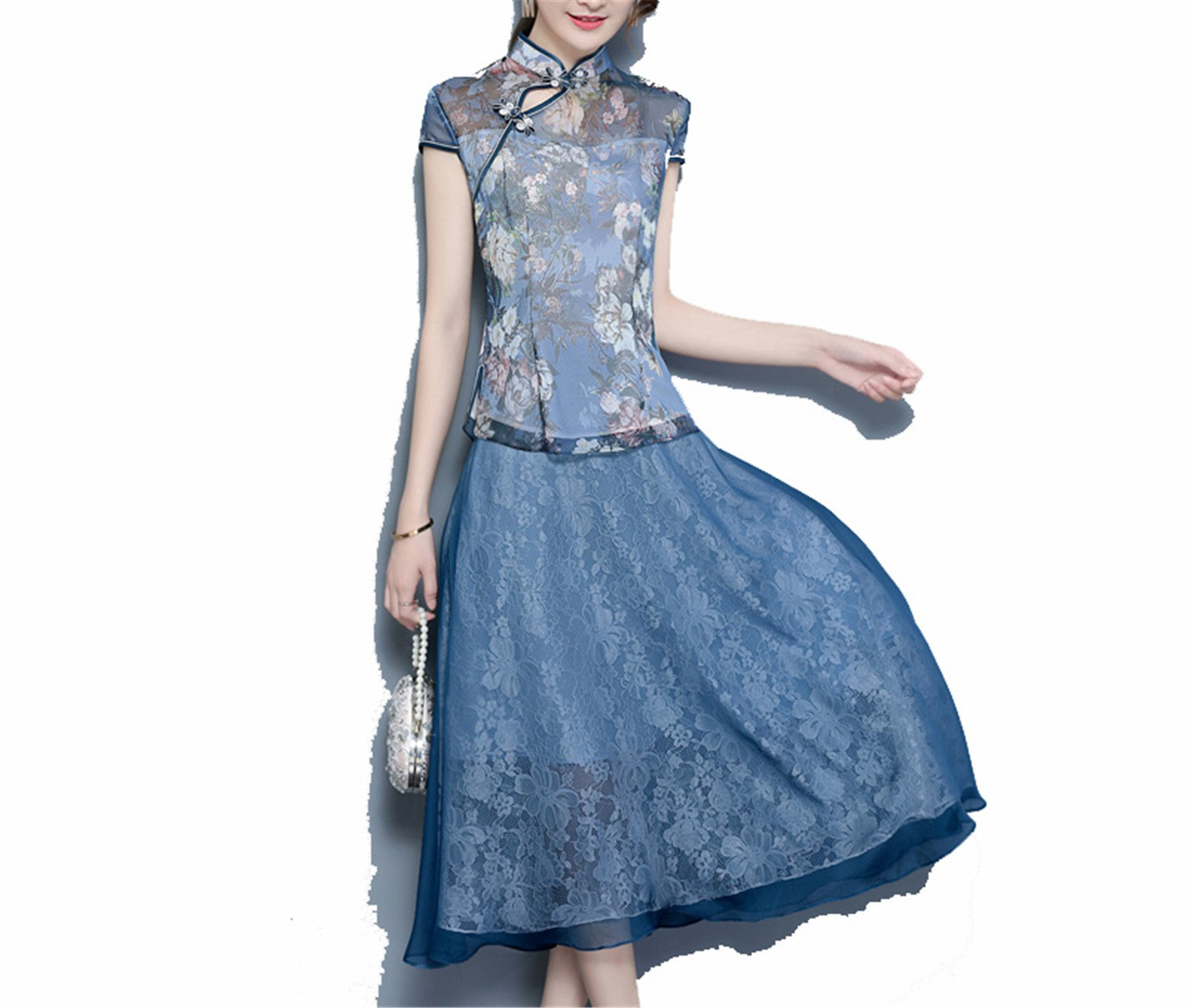 Coac3 Ladies Short Sleeve Sexy Cheongsam Qipao Dresses Party Evening Dress Chinese Traditional